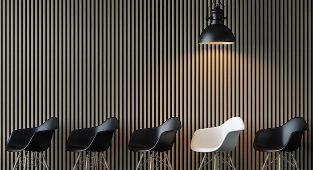 Interior moderno contemporâneo da sala de estar 3d renderização em preto e branco, luminária de estilo industrial