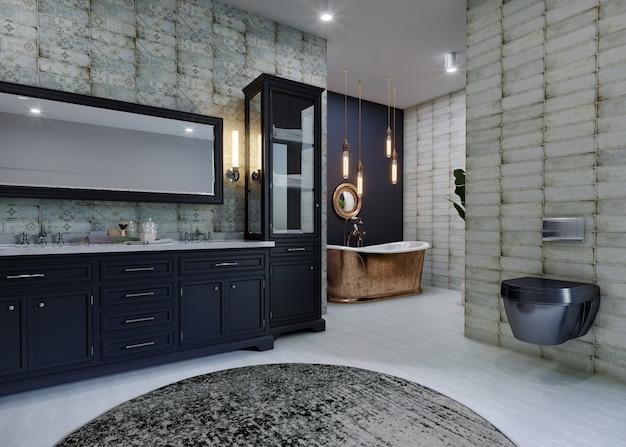 Interior moderno da cozinha com design de parede