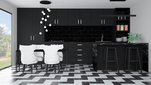 Interior moderno da cozinha com mobília. renderização 3d