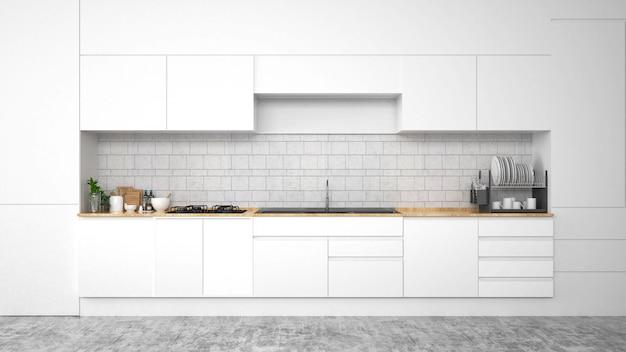 Interior moderno da cozinha com mobília. renderização em 3d