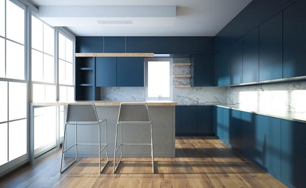 Interior moderno da cozinha com mobília.