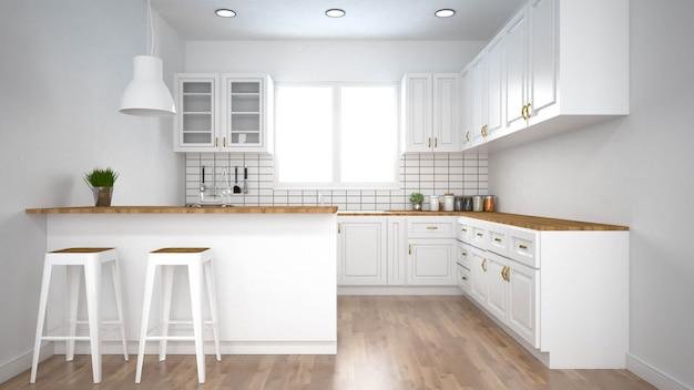 Interior moderno da cozinha com rendição de furniture.3d