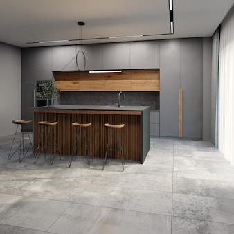 Interior moderno da cozinha em estilo loft