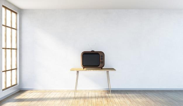 Interior moderno da sala com tv retro vintage na mesa e janelas panorâmicas em renderização 3d