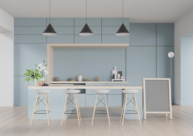 Interior moderno da sala da cozinha, sala moderna do restaurante, interior moderno da cafetaria no fundo azul da parede. 3d render