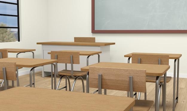 Interior moderno da sala de aula 3d em tons claros. renderização 3d