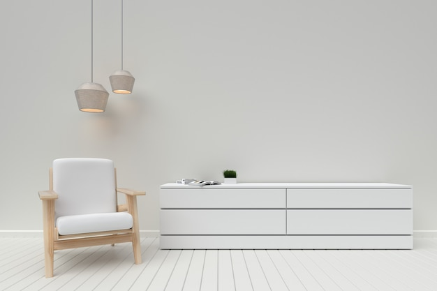 Interior moderno da sala de estar com armário de madeira e sofá, renderização em 3d