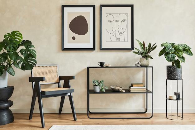 Interior moderno da sala de estar com modelo geométrico de poltrona cômoda com duas molduras de pôster simuladas