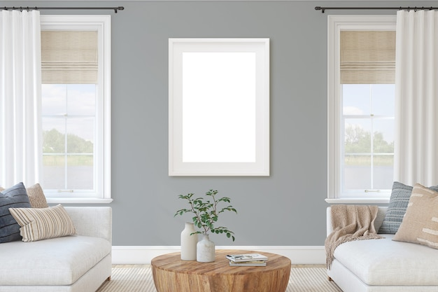 Interior moderno da sala de estar com móveis brancos e parede cinza. maquete do interior e do quadro. renderização 3d.