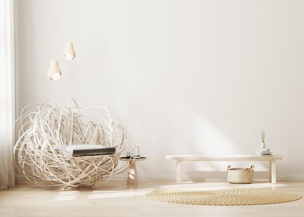 Interior moderno da sala de estar com móveis de madeira clara e fundo interior minimalista