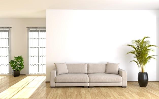 Interior moderno da sala de estar com parede branca. ilustração 3d