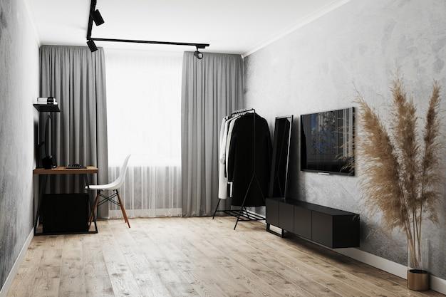 Interior moderno da sala de estar com paredes cinza, cabideiro e espelho de chão