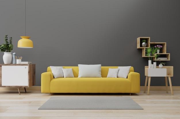 Interior moderno da sala de estar com sofá amarelo iluminado e plantas verdes