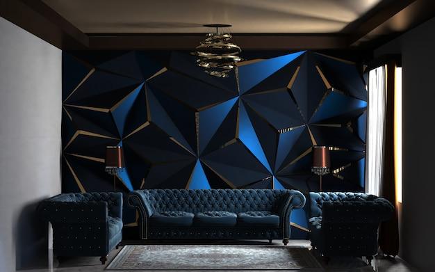 Interior moderno da sala de estar com sofá e fundo de decoração de painel de parede.