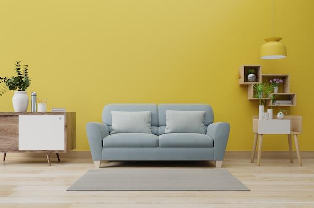 Interior moderno da sala de estar com sofá e plantas verdes, abajur, mesa na parede amarela iluminada