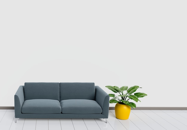 Interior moderno da sala de estar com sofá preto com piso brilhante branco e de madeira