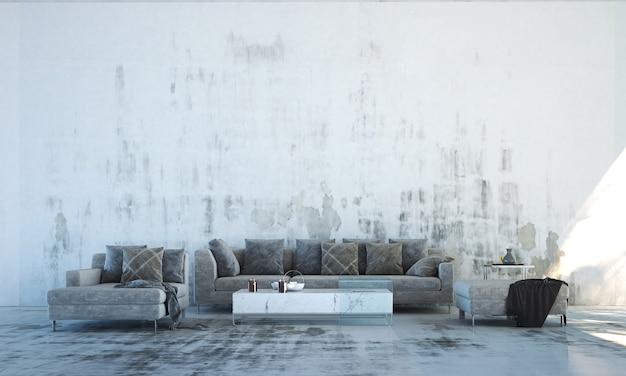 Interior moderno da sala de estar do loft e fundo da parede de concreto