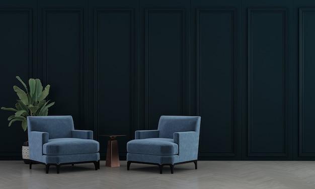 Interior moderno da sala de estar e decoração de móveis de sofá azul e fundo padrão de parede vazia