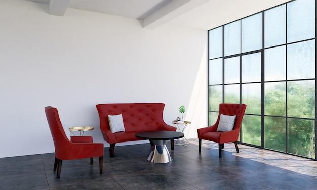 Interior moderno da sala de estar e decoração de móveis de sofá vermelho e fundo de padrão de parede vazio