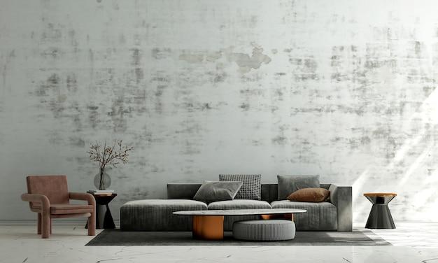 Interior moderno da sala de estar e fundo da parede de concreto