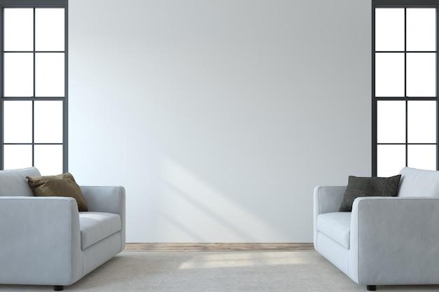 Interior moderno da sala de estar. maquete de interior. dois armchaira branca perto da parede branca vazia. renderização 3d.