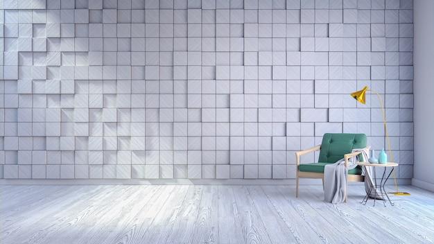 Interior moderno da sala de estar, poltrona verde no revestimento branco e painel de madeira branco w