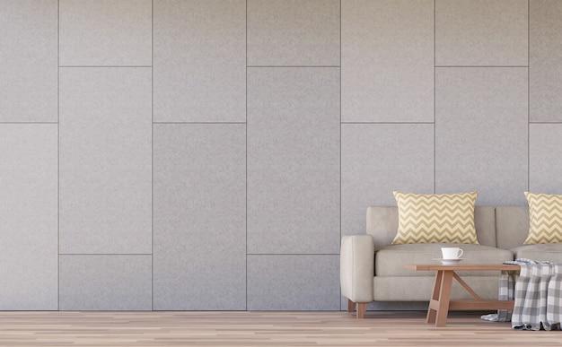 Interior moderno da sala de estar renderização em 3d há paredes de concreto com ranhuras no padrão de tijolo