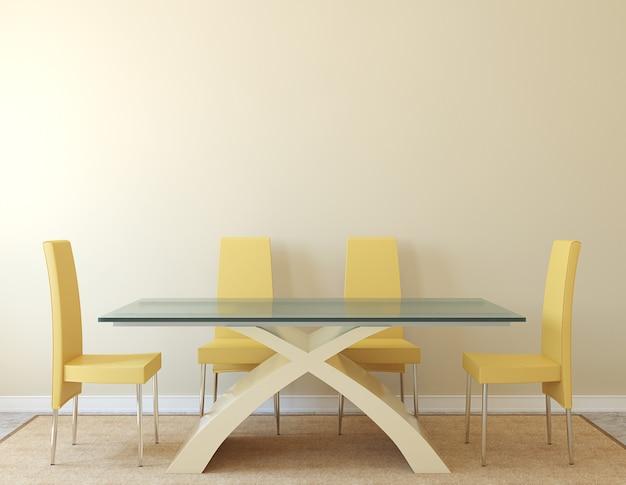 Interior moderno da sala de jantar. minimalismo. renderização 3d.