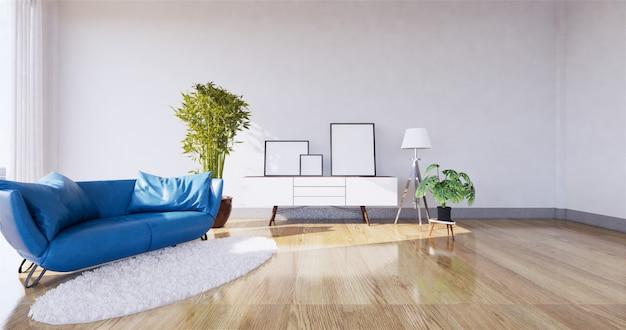 Interior moderno da sala de visitas com sofá e as plantas verdes, sofá na parede. renderização em 3d