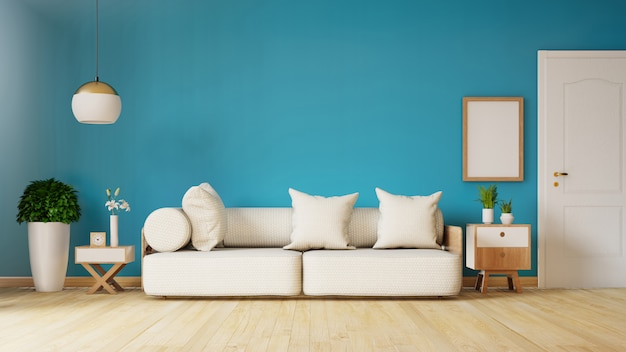 Interior moderno da sala de visitas com sofá e plantas verdes, lâmpada, tabela na obscuridade - parede de mármore azul. renderização em 3d