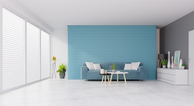 Interior moderno da sala de visitas do vintage com sofá e plantas verdes, tabela no fundo azul, branco da parede. renderização em 3d