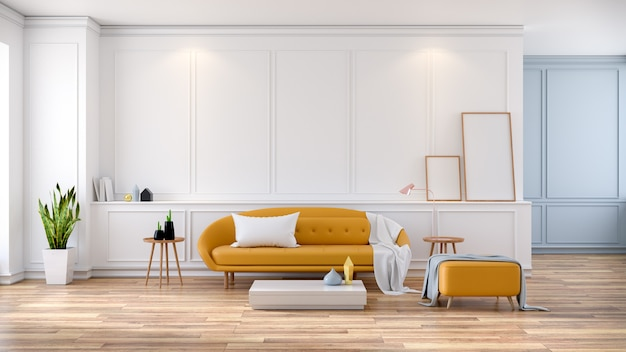 Interior moderno da sala do meio século, sofá amarelo na sala branca, rendição 3d
