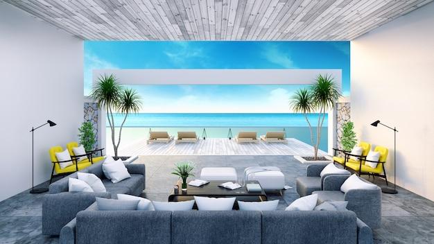 Interior moderno da sala perto da praia com rendição 3d da vista do céu e do mar