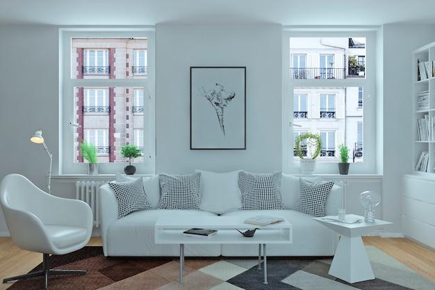 Interior moderno de cozinha com sala de estar