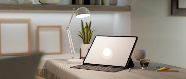 Interior moderno de escritório em casa com maquete de tablet digital e teclado na mesa de trabalho com renderização 3d