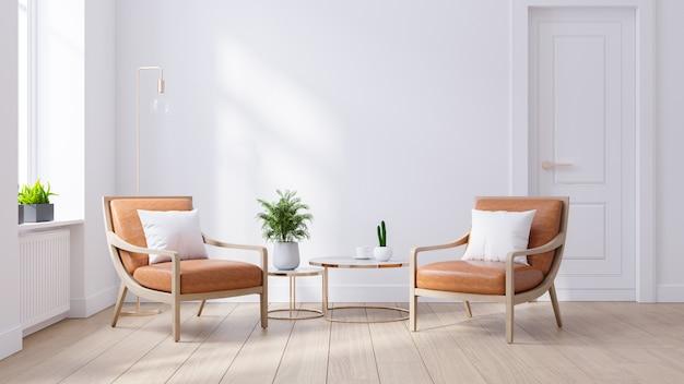 Interior moderno de meados do século da sala de estar, armário de madeira de poltronas de couro na parede branca e piso de madeira, 3d render