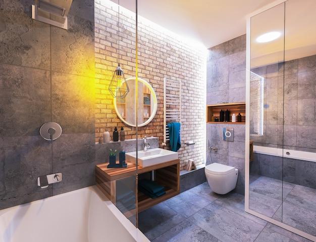 Interior moderno de um banheiro no loft