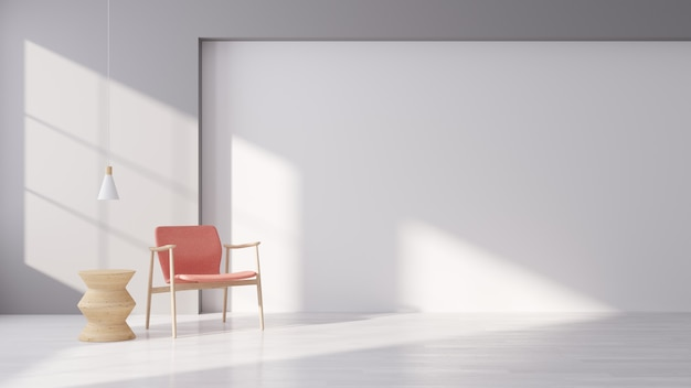 Interior moderno de viver com poltrona de tecido rosa no chão de madeira branco e parede branca, estilo minimalista, renderização em 3d