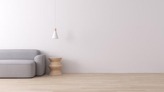 Interior moderno de viver com sofá de tecido cinza no piso de madeira e parede branca, estilo minimalista, renderização em 3d