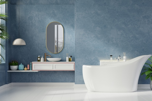 Interior moderno do banheiro na parede azul escura