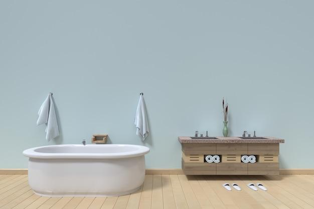 Interior moderno do banheiro no fundo branco vazio da parede, rendição 3d