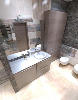 Interior moderno do banheiro privativo.