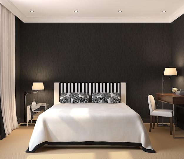 Interior moderno do quarto. 3d render. design exclusivo.