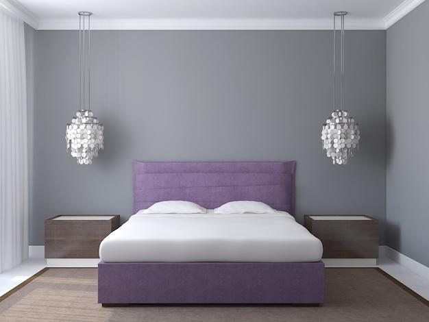 Interior moderno do quarto com paredes cinzentas e cama king-size violeta. renderização 3d.