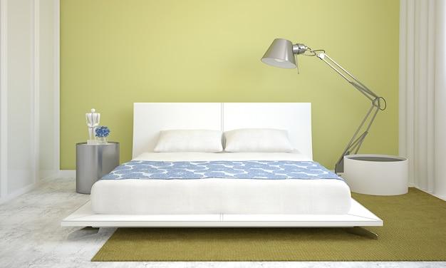 Interior moderno do quarto com paredes verdes e cama king-size. renderização 3d.