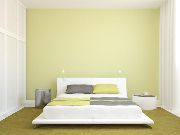 Interior moderno do quarto. minimalismo. renderização 3d.