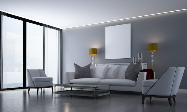 Interior moderno e aconchegante com sala de estar, aparador, cômoda e fundo de parede de azulejo cinza