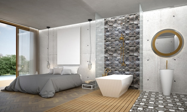 Interior moderno e aconchegante do quarto, banheiro, decoração e fundo de parede de concreto