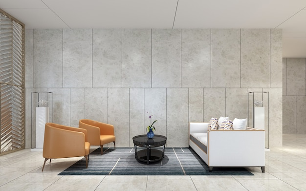 Interior moderno e aconchegante simulado para decoração de móveis de design de sala de estar e fundo padrão de parede, renderização em 3d