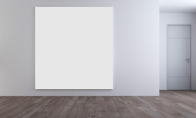 Interior moderno e aconchegante simulado para decoração de móveis de design e tela de quadro vazio da sala de estar e fundo padrão de parede, renderização em 3d